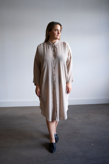 Ines | Silk in Slate | MADE TO ORDER