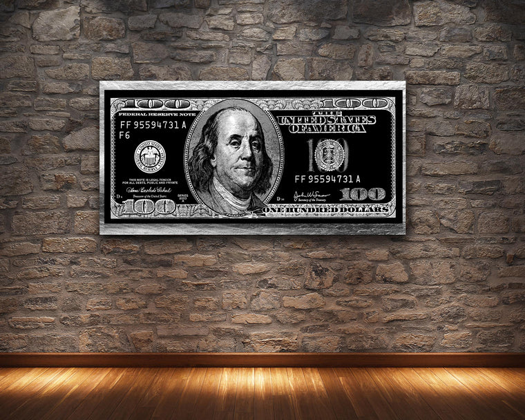 SILVER HUNDRED DOLLAR BILL ART PRINT