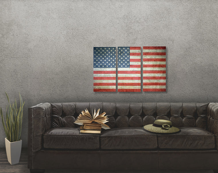 American Flag Three Panel Canvas