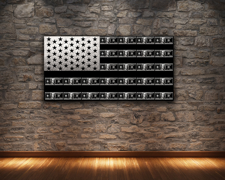 SILVER FLAG HUNDRED DOLLAR BILL CANVAS