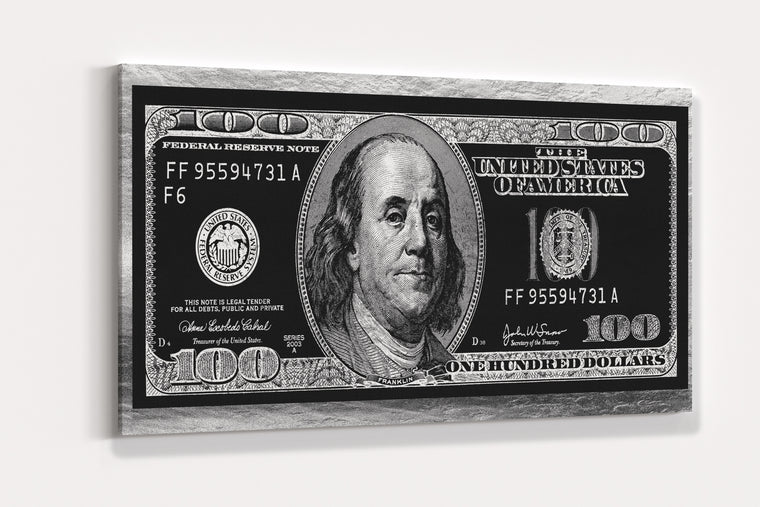 SILVER HUNDRED DOLLAR BILL CANVAS