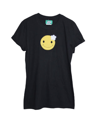 Women's Black Smiley Face T Shirt by Not For Ponies