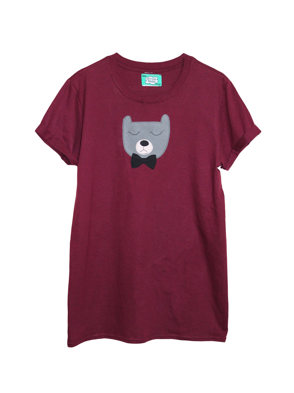 Women's Maroon Bear T Shirt by Not For Ponies