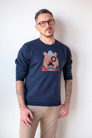 Men's navy bear sweatshirt with monacle and bowler hat.