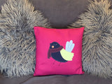 Raspberry winter bird cushion