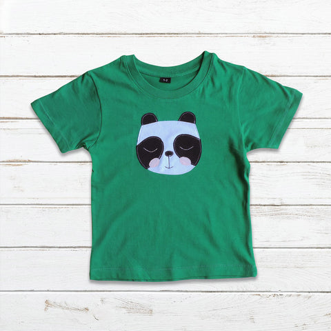 Boys  Green Panda T Shirt