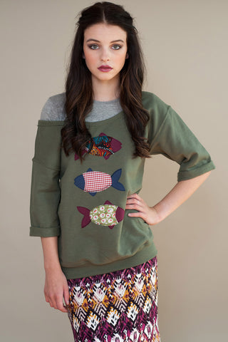 Patchwork Fish Sweatshirt