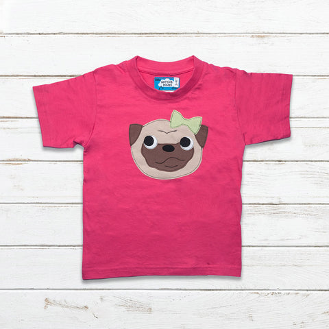 Girls Pug Bow T Shirt