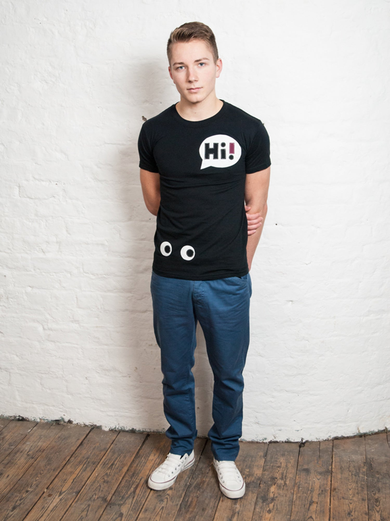 Men's Black Hi T Shirt by Not For Ponies