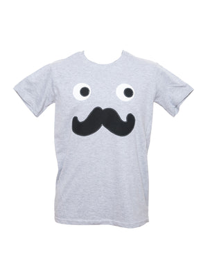 Men's Grey Moustache T Shirt by Not For Ponies