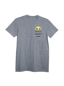 Men's Grey Smiley Pocket T Shirt by Not For Ponies
