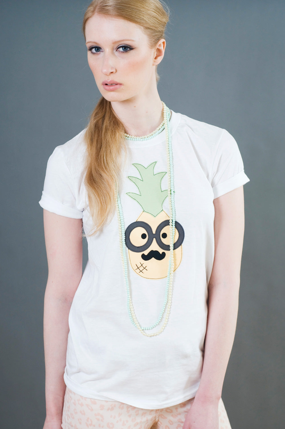 Women's White Pineapple T Shirt by Not For Ponies