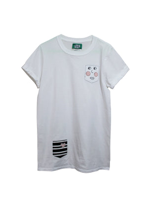 Women's White Pocket Face T Shirt by Not For Ponies