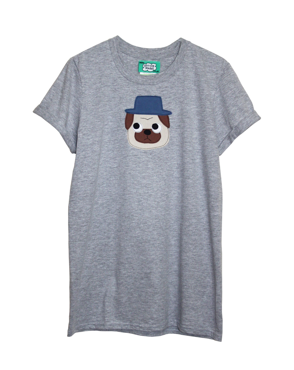 Women's Grey Pug T Shirt by Not For Ponies