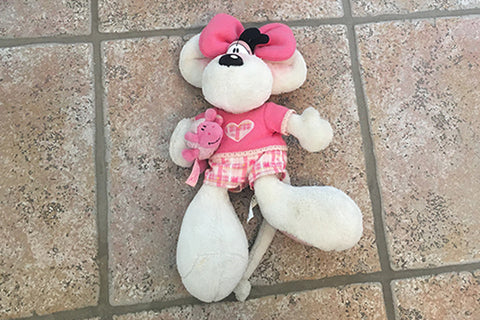 Diddlina Teddy Bear (White/Pink)