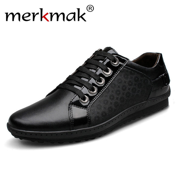 Merkmak Casual Men's Shoes Brogue Genuine Leather 2017 Nubuck Men Flats Outdoor Lace-up Plus Size 37-45 Shoes Free Shipping