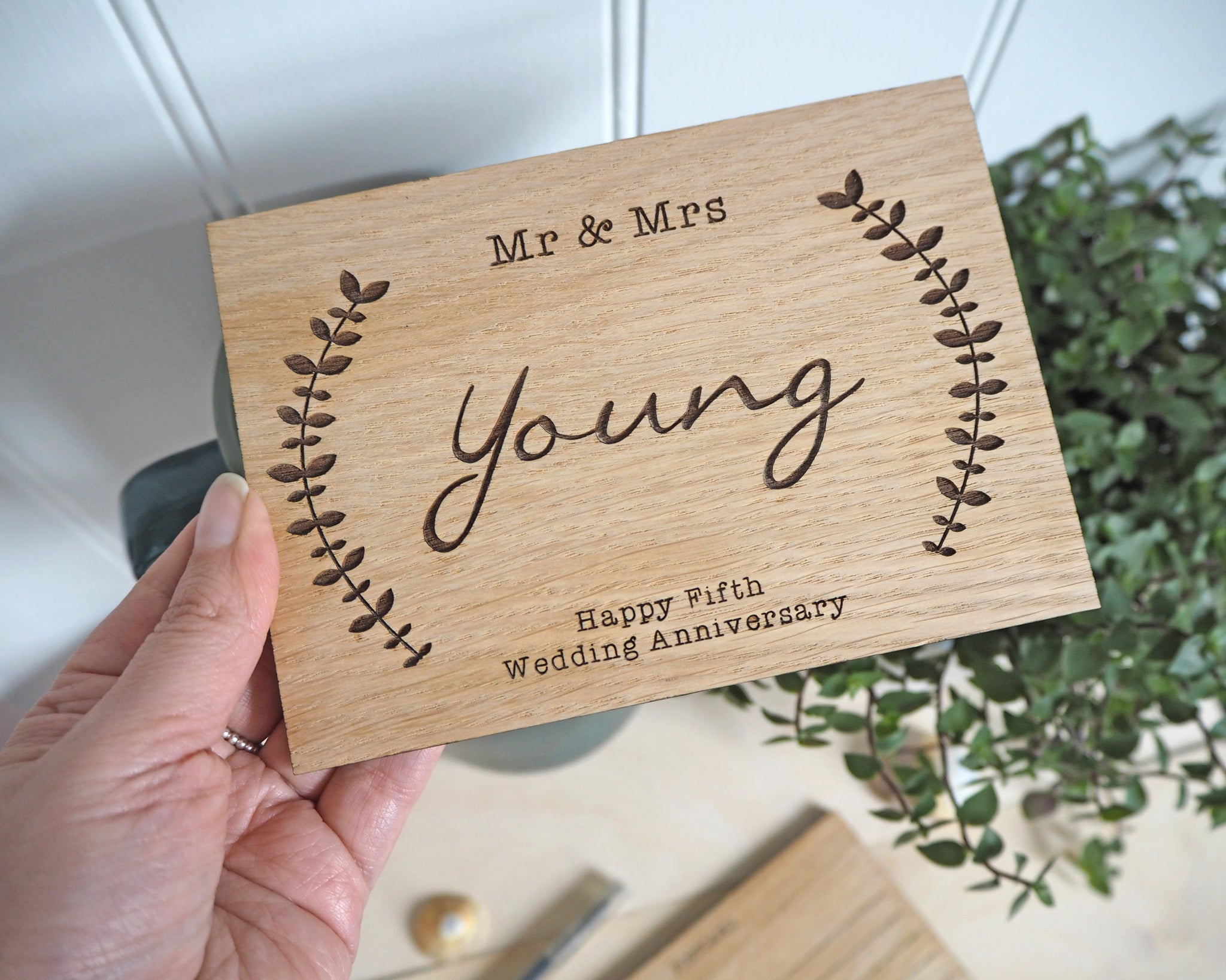 wooden anniversary card