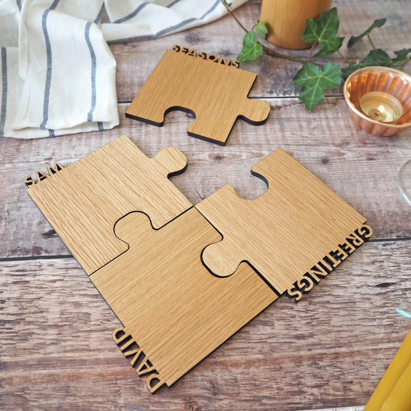 Set of Four Personalised Oak Cut Out Coasters