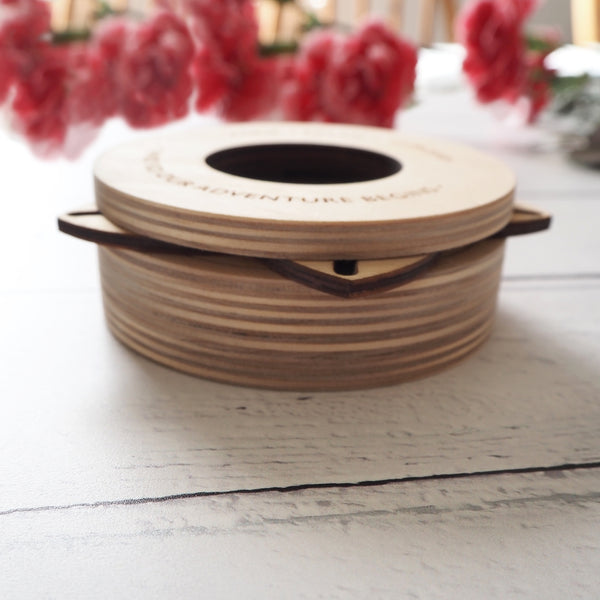 Birch wood shutter wedding ring box