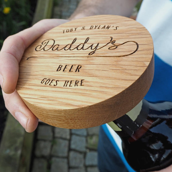 Personalised Oak Coaster And Bottle Opener