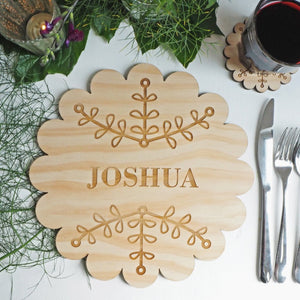 Personalised Round Wooden Christmas Placemat