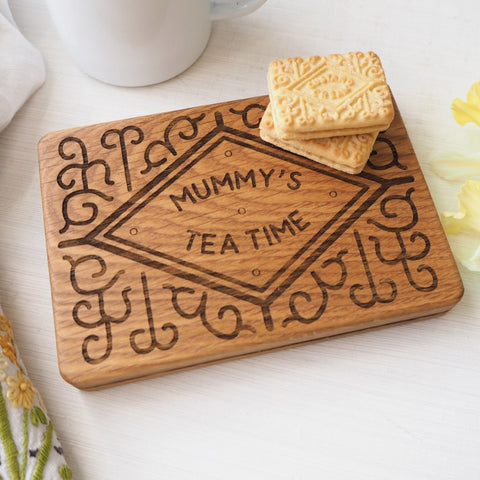 Personalised Custard Cream Biscuit Oak Coaster