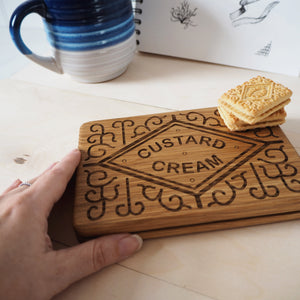 Custard Cream Biscuit Wood Serving Board and Coaster