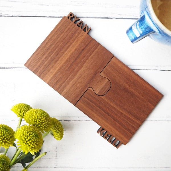 Set Of Two Personalised Cut Out Walnut Coasters