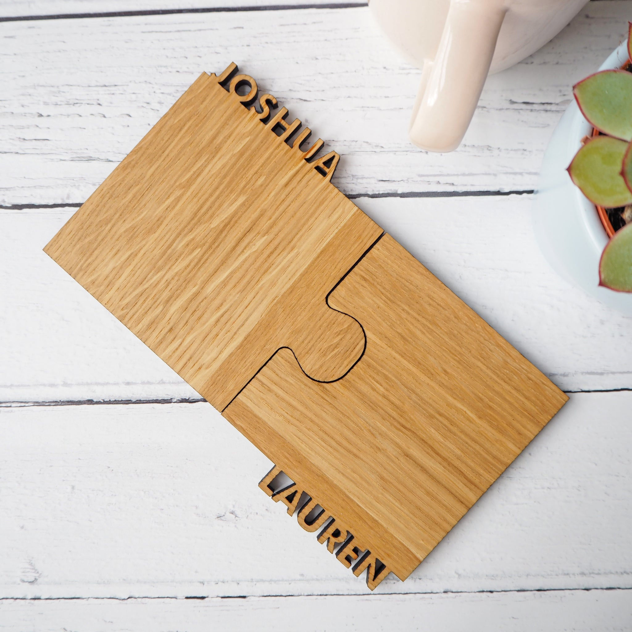 Set Of Two Personalised Cut Out Oak Coasters