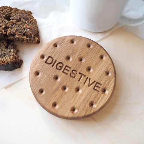 Digestive Biscuit Oak Wood Coaster