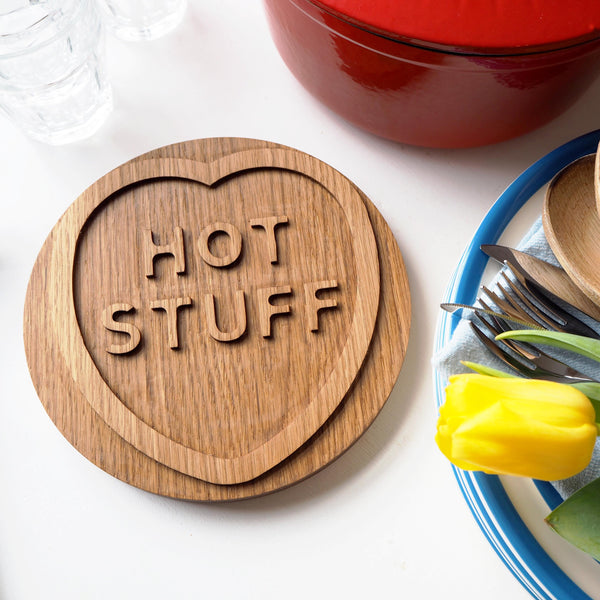 Solid Oak Hot Stuff Wood Trivet