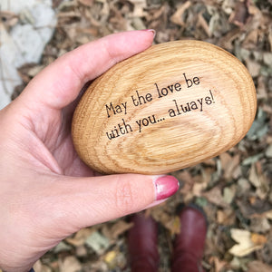 Engraved Wooden Pebble Personalised Ring Box
