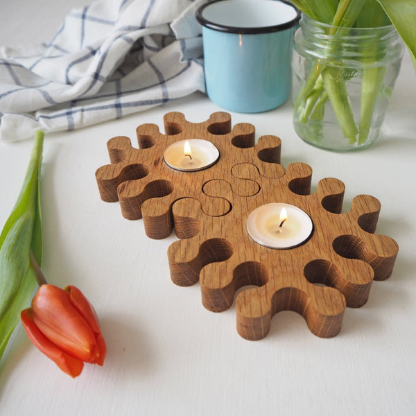 Set of Two Solid Oak Jigsaw Tea Light Candle Holders