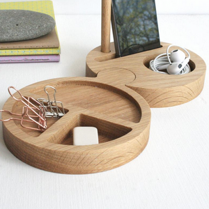 Solid Oak Wooden Round Desk Tidy and Phone stand