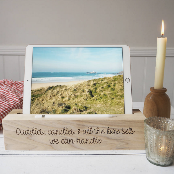 Personalised Wooden ipad And Pen Stand