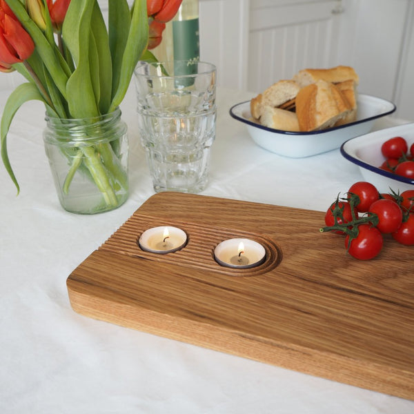Large Oak Sharing Platter Board with Tea Light Holders 2ft