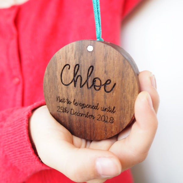Personalised Wooden Christmas Bauble Ring Box