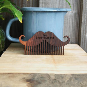 Personalised Walnut Wood Moustashe and Beard  Comb