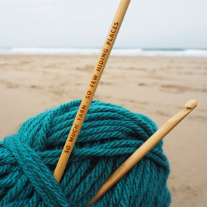Engraved bamboo crochet hook - So much yarn, so few hiding places!