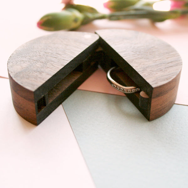 Walnut and Copper Round wooden ring box
