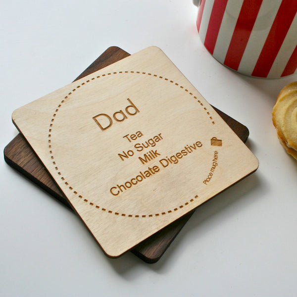 Personalised Tea or Coffee Wooden Engraved Coaster