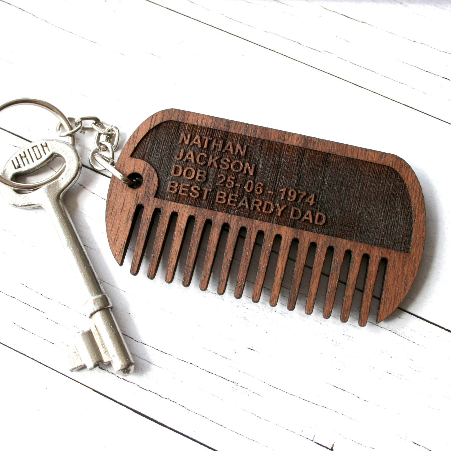 Walnut Wood Dog Tag Beard Comb