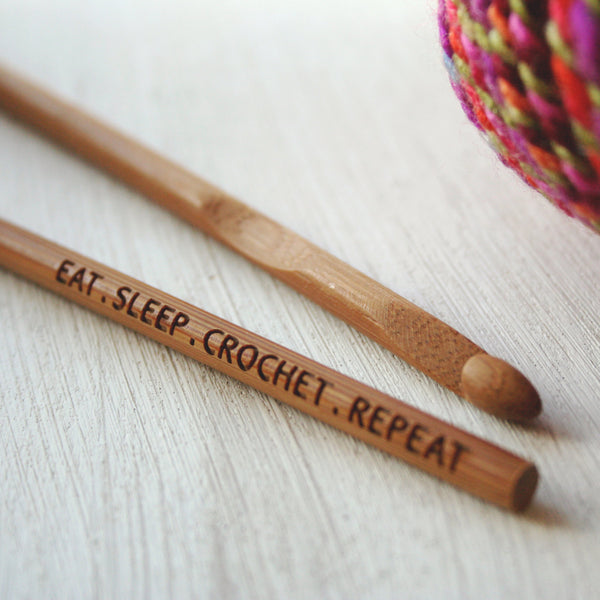 Engraved Eat Sleep Crochet Repeat - Crochet Hook