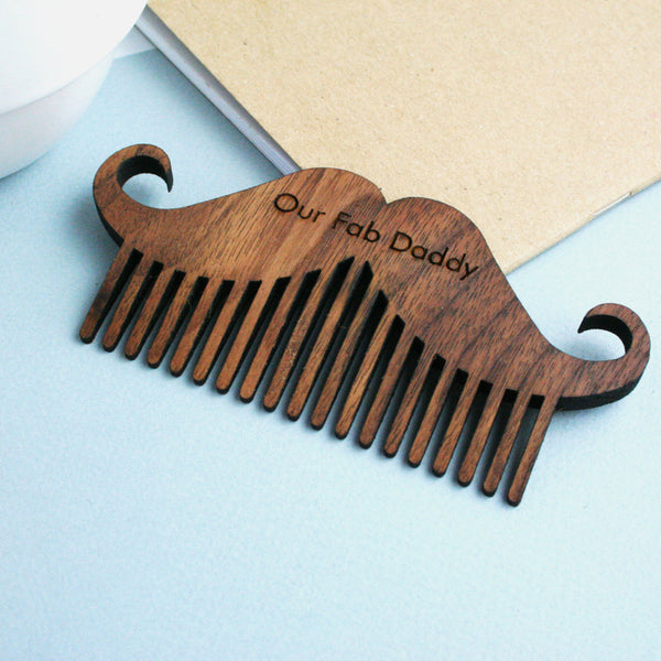 Personalised Walnut Wood Moustache and Beard  Comb