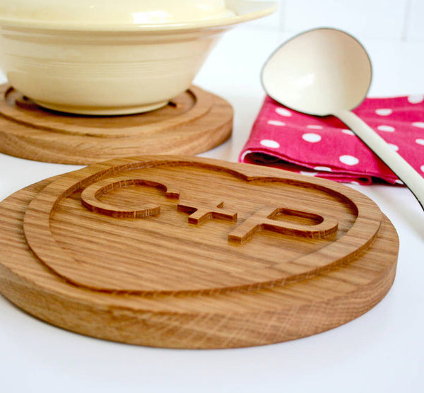 Solid Oak Personalised Wood Heart Shaped Trivet