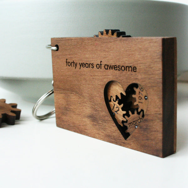 Wooden cogs and gears mechanical keyring