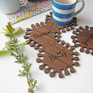 Interlocking Hexagon Walnut Wood Personalised Coasters