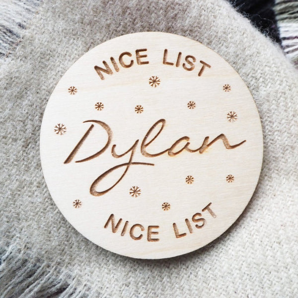 Naughty or Nice List Personalised Wooden Badge
