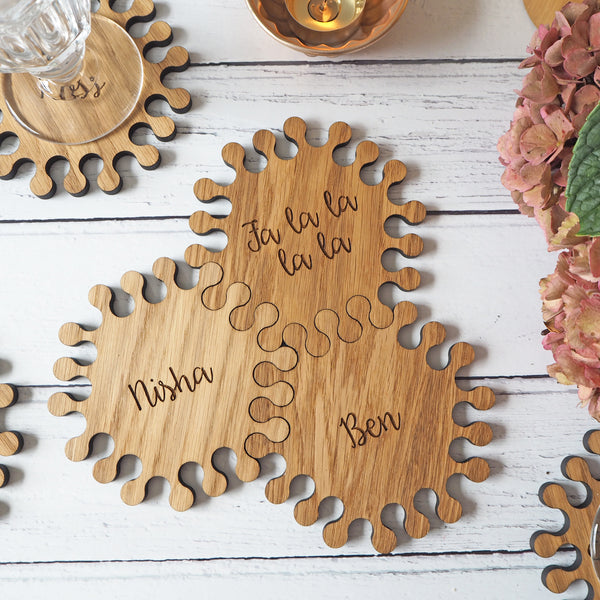 Interlocking Hexagon Oak Wood Personalised Coasters