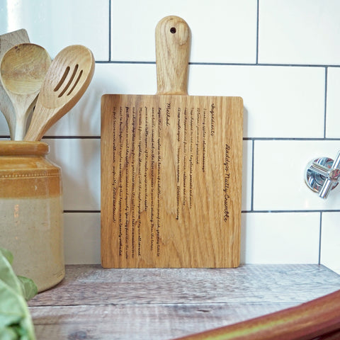 Solid Oak Personalised Recipe Chopping Board